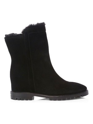 Aquatalia cate faux shearling-lined suede boots