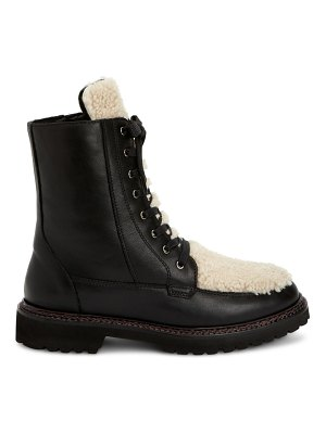 Aquatalia marlee shearling-trimmed leather combat boots