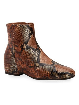 Aquatalia Ulyssaa Snake-Print Leather Booties