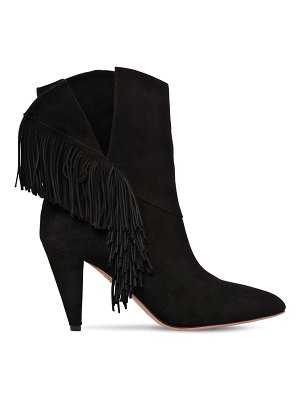 Aquazzura 85mm wild fringed suede ankle boots