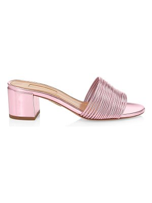 Aquazzura bangle block-heel metallic mules