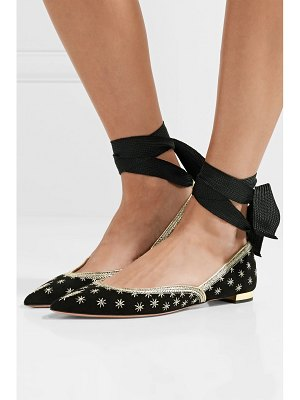 Aquazzura bliss embellished suede point-toe flats