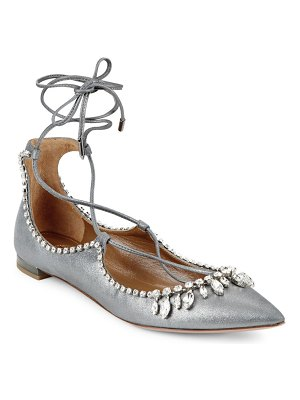 Aquazzura Christy Jewel Metallic Suede Lace-Up Flats
