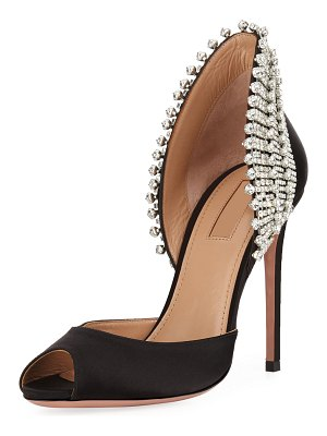 Aquazzura Concorde Embellished Satin High-Heel d'Orsay Sandals