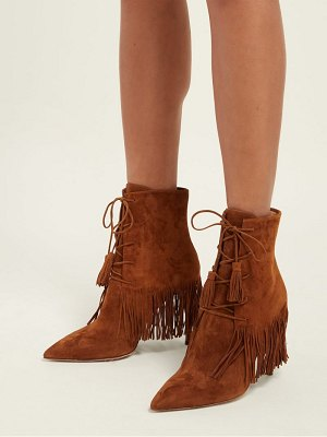 Aquazzura Mustang 105 Fringed Suede Ankle Boots