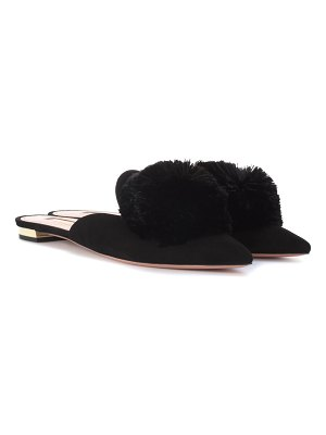 Aquazzura Powder Puff suede slippers