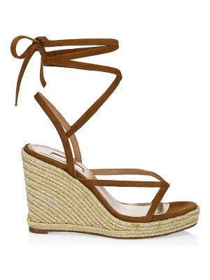 Aquazzura ramatuelle suede espadrille wedge sandals