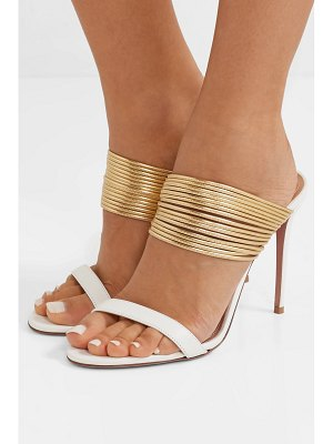 Aquazzura rendez vous 105 metallic leather mules