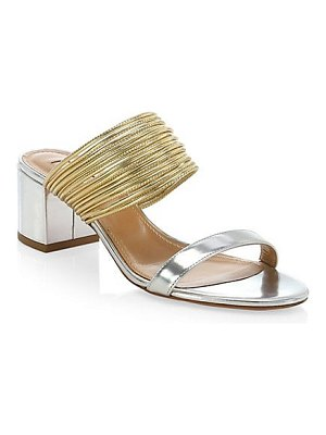 Aquazzura rendez vous metallic leather mules