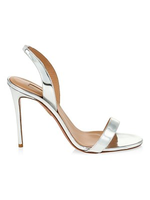 Aquazzura so nude metallic leather slingback sandals