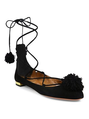 Aquazzura Sunshine Pom-Pom Suede Lace-Up Flats
