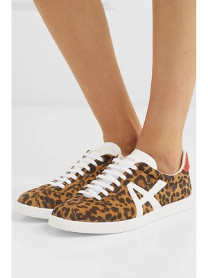 Aquazzura the a leather-trimmed leopard-print suede sneakers