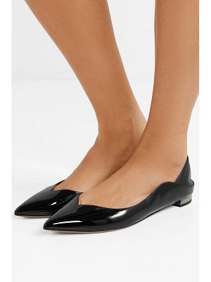 Aquazzura zen smooth and patent-leather collapsible-heel point-toe flats
