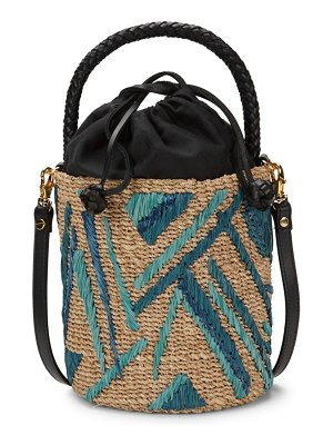 ARANAZ Raffia Braided Bucket Bag
