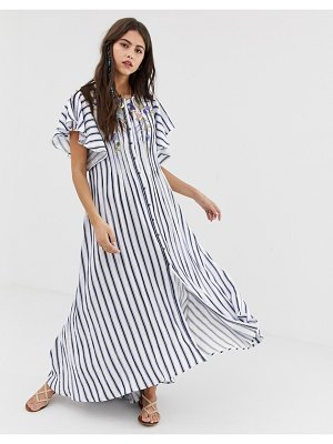 Aratta maxi dress in stripe with floral embroidery