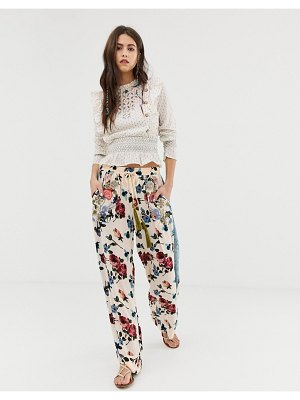 Aratta relaxed floral pants with velvet side strips