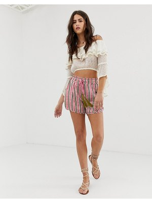 Aratta relaxed stripe shorts with contrast tassle two-piece