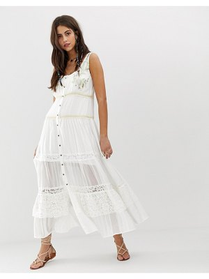 Aratta tiered maxi dress with embroidery detail