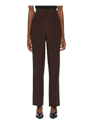 Arch The burgundy silk straight trousers