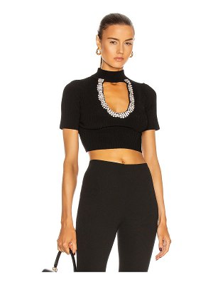 AREA beaded crystal knit crop top