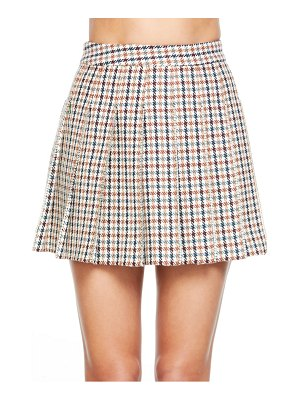 AREA check crystal trim pleated miniskirt