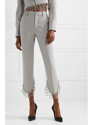 AREA cropped crystal-embellished woven straight-leg pants