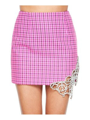 AREA crystal cutout butterfly houndstooth miniskirt