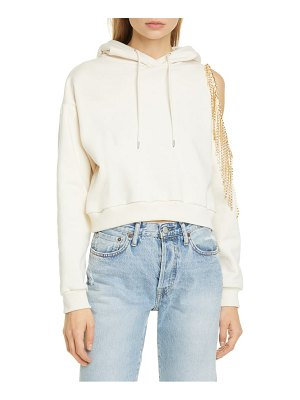 AREA crystal fringe french terry crop hoodie