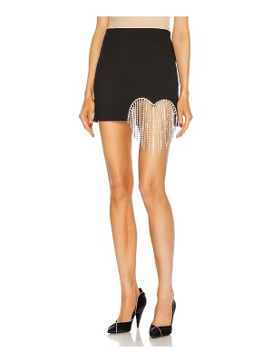 AREA crystal heart fringe mini skirt
