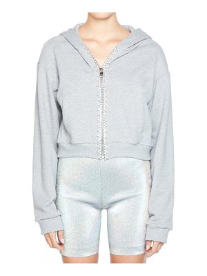 AREA crystal trim crop zip hoodie