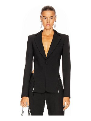 AREA crystal trim open back blazer