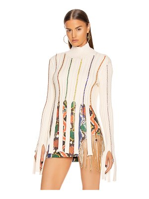AREA embroidered crystal crop sweater