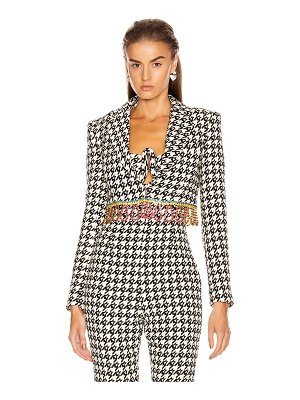 AREA houndstooth cropped bolero jacket