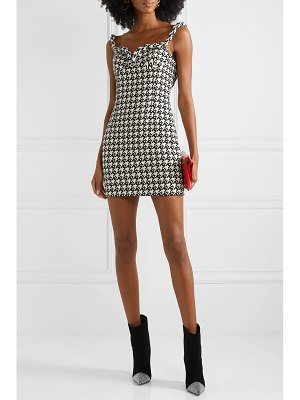 AREA houndstooth wool-blend mini dress