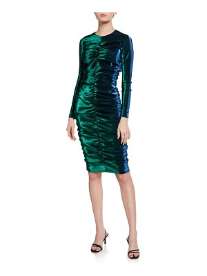 AREA Iridescent Shirred Long-Sleeve Dress