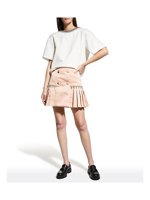 AREA Open-Back Cropped T-Shirt w/ Crystal Trim
