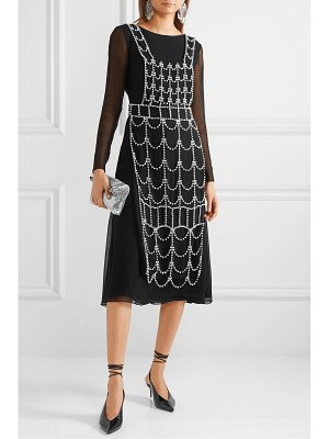 AREA open-back layered crystal-embellished georgette dress
