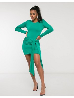 Aria Cove long sleeve ruched tie front mini dress in green-blue