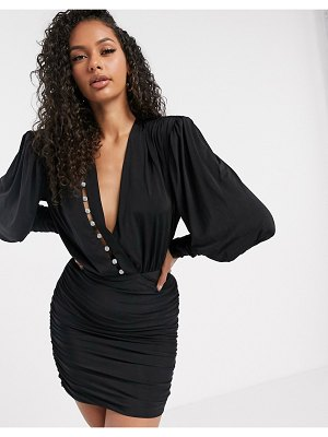 Aria Cove long sleeve wrap front ruched mini dress with rhinestone stripe detail in black-blue
