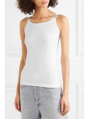 Aries intarsia-trimmed ribbed cotton-jersey tank