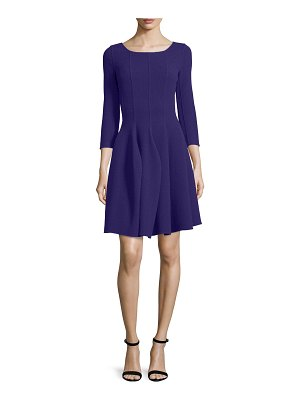 Armani Collezioni 3/4-Sleeve Godet-Pleated Dress