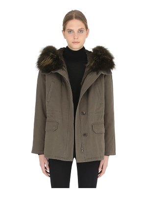 Army by Yves Salomon Cotton parka with lapin fur lining