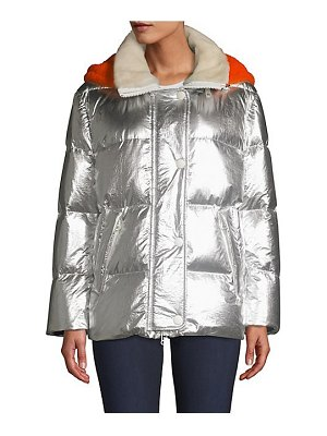 Army by Yves Salomon shearling hood metallic puffer jacket