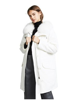 Army by Yves Salomon white hooded coat