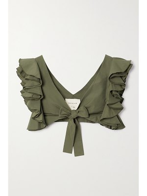 ARTCLUB le cercle cropped ruffled cotton and silk-blend faille top