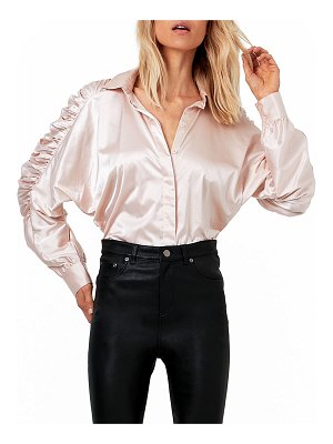 AS by DF Ferrara Ruched-Sleeve Satin Blouse