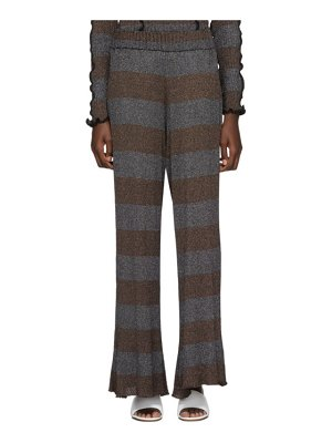 ASAI brown and silver lurex flare lounge pants