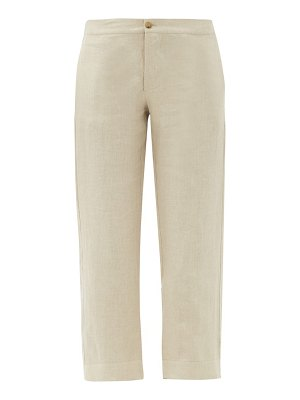 Asceno antibes cropped linen straight-leg trousers