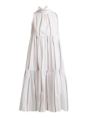 Asceno Striped neck-tie cotton dress