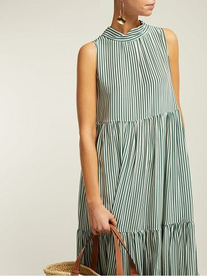 Asceno striped neck tie tiered silk midi dress